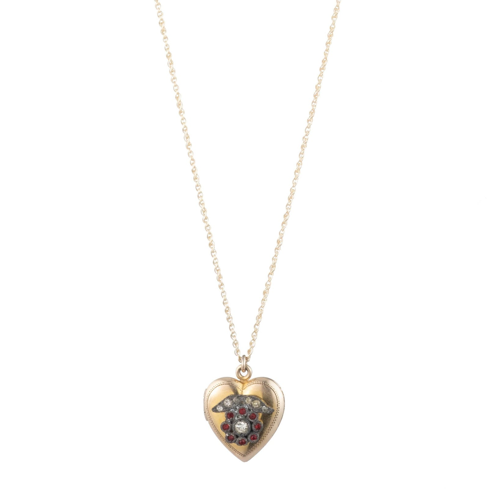 Vintage 1930s 12k Gold Filled Heart Locket Necklace with Pot Metal Flower