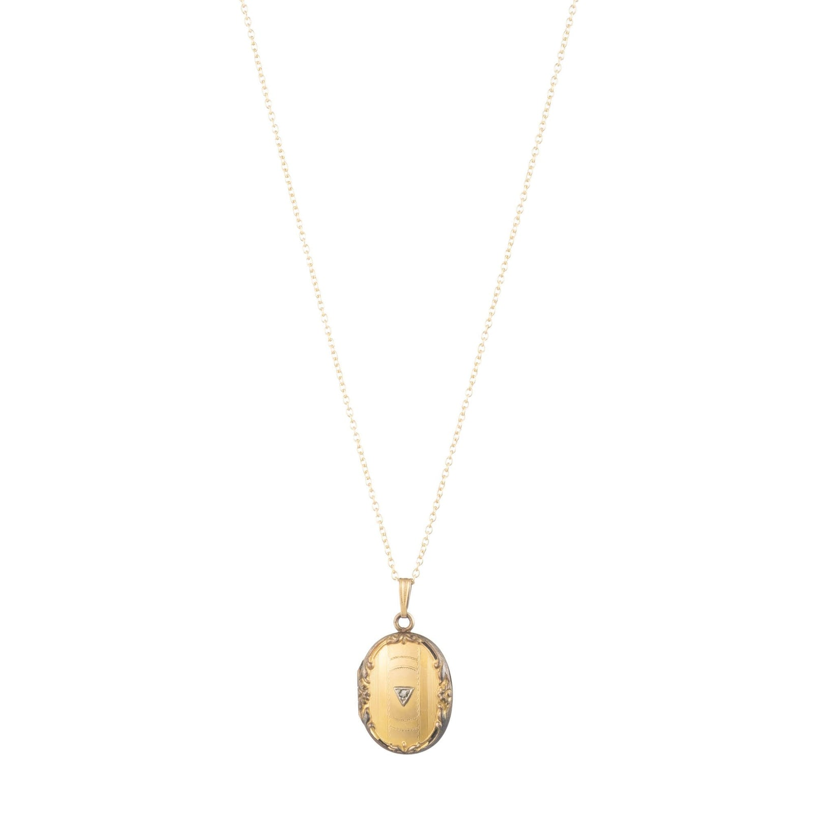 Antique Gold Filled Oval Locket Necklace with Diamond