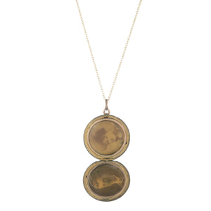 Antique Round Gold Filled Locket with Star Set Pearl