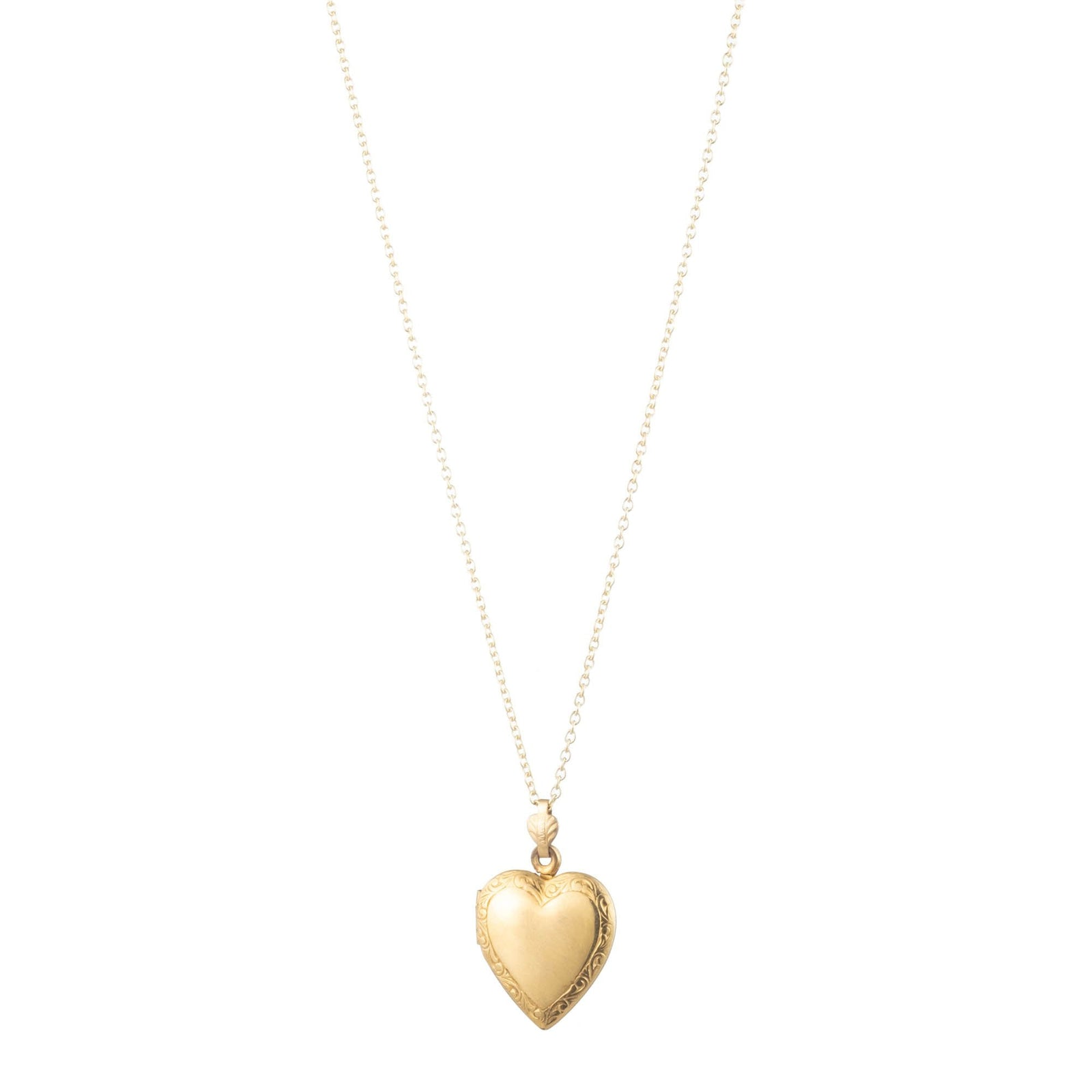 Vintage 1940s 12k Gold Filled Heart Locket with Decorative Border Necklace