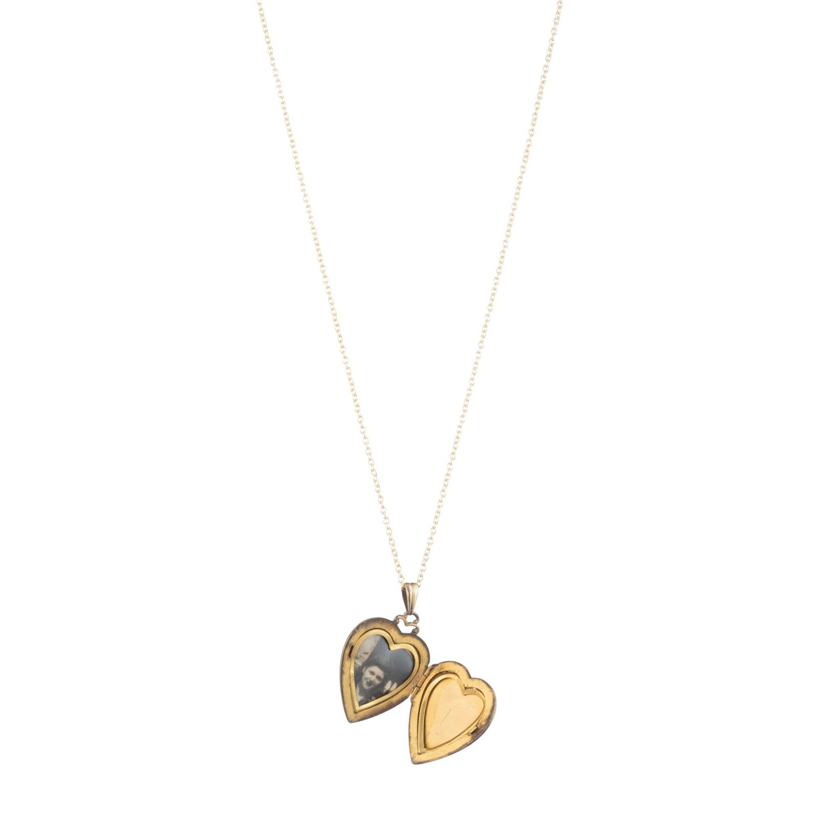 Vintage 1940s Gold Filled Engraved Heart on Heart Locket Necklace