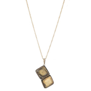 Antique 12k Gold Filled Square Locket with Pearl Flower