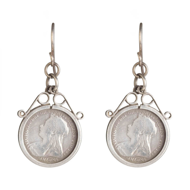 Vintage Sterling Silver Threepence Coin Earrings