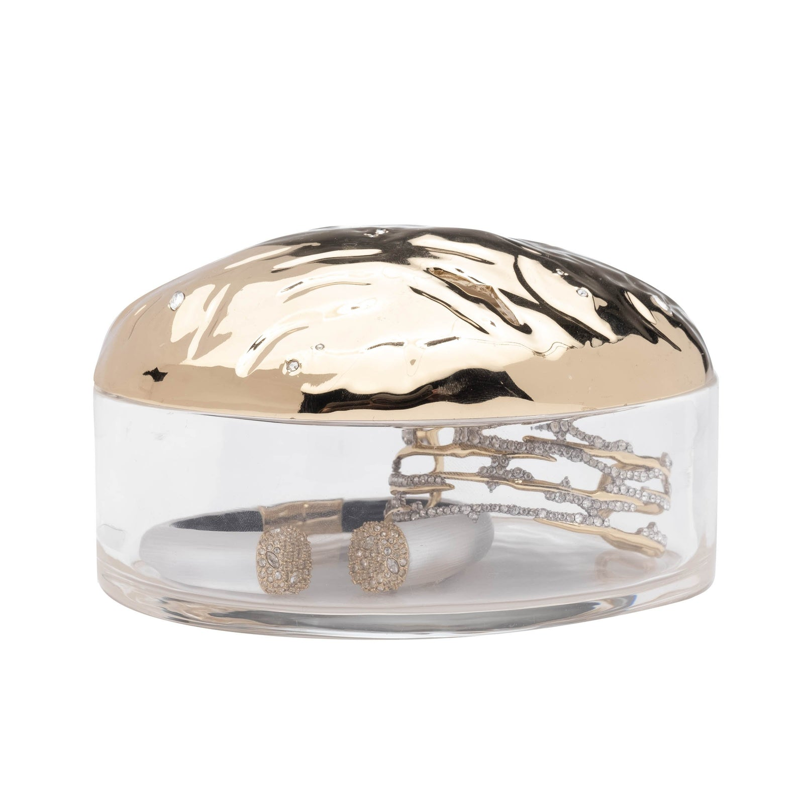Watery Surface Lucite Box with Rocky Metal Lid
