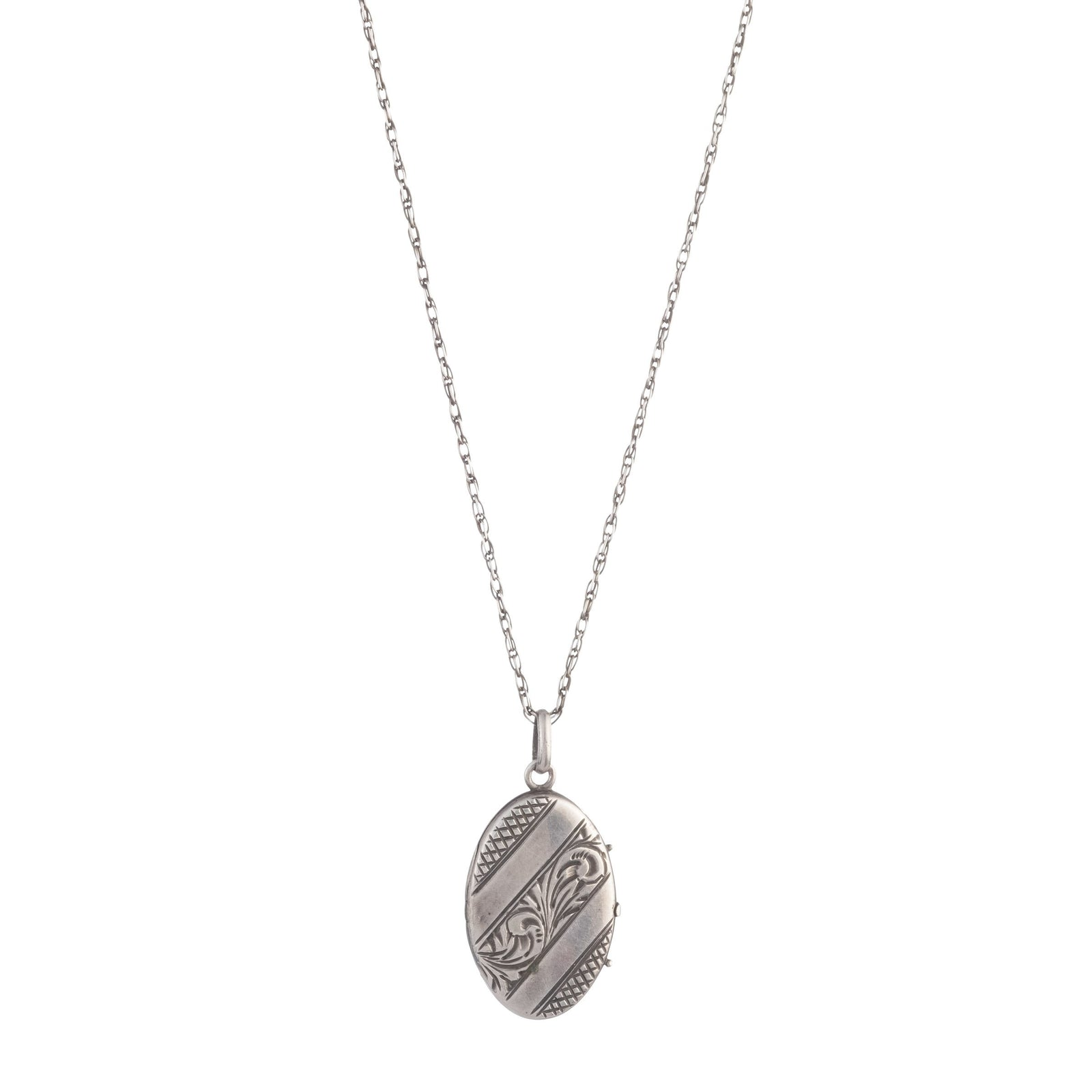 Antique Sterling Silver Oval Striped Locket