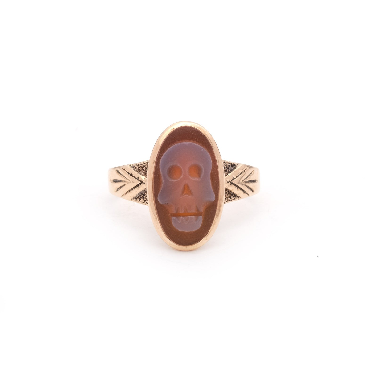 Carnelian and 14k Gold Memento Mori Ring with Chevron Shoulders