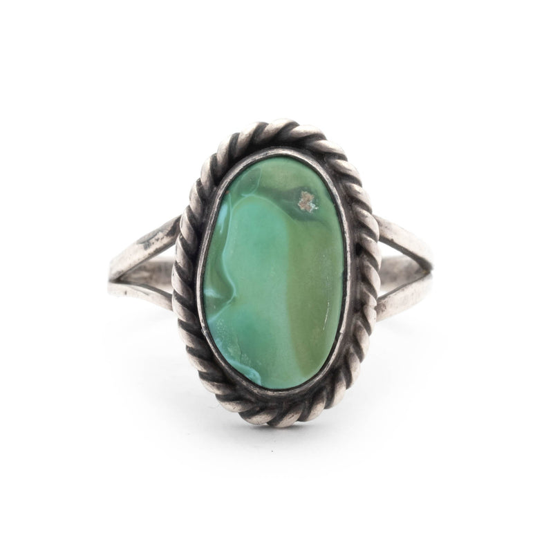 Vintage Navajo Sterling Silver Ring with Rope Motif & Turquoise Cabochon