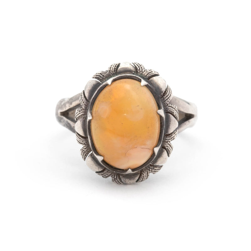 Vintage Sterling Silver and Fire Opal Ring