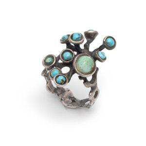 Vintage Brutalist Sterling Silver Branched Ring with Turquoise