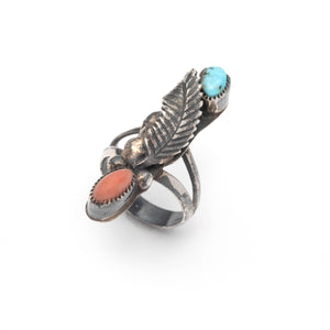 Vintage Navajo Sterling Silver Leaf Ring with Coral and Turquoise