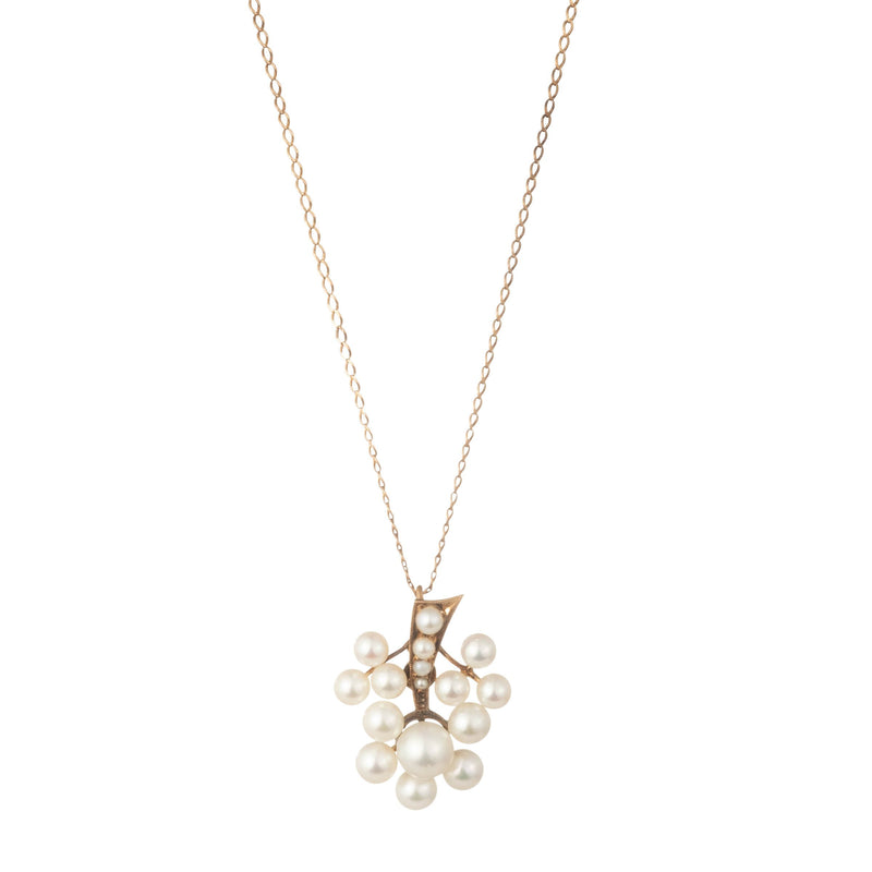 Antique 14k Gold and Pearl Branch Pendant Necklace