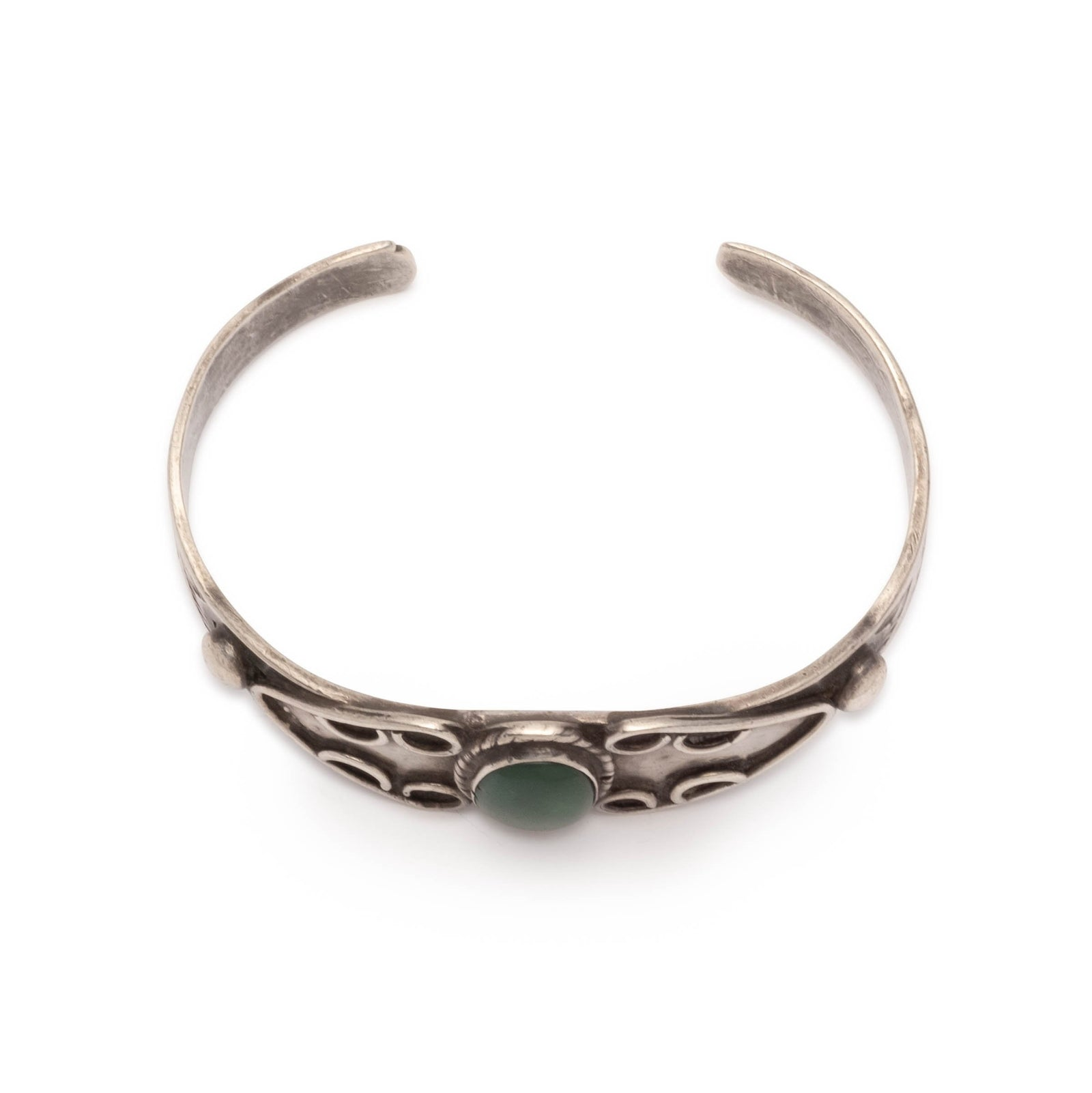 Vintage Sterling Silver Navajo Cuff with Green Turquoise