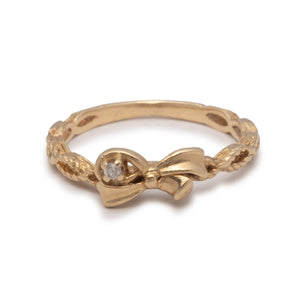 Vintage 14k Gold and Diamond Bow Promise Ring