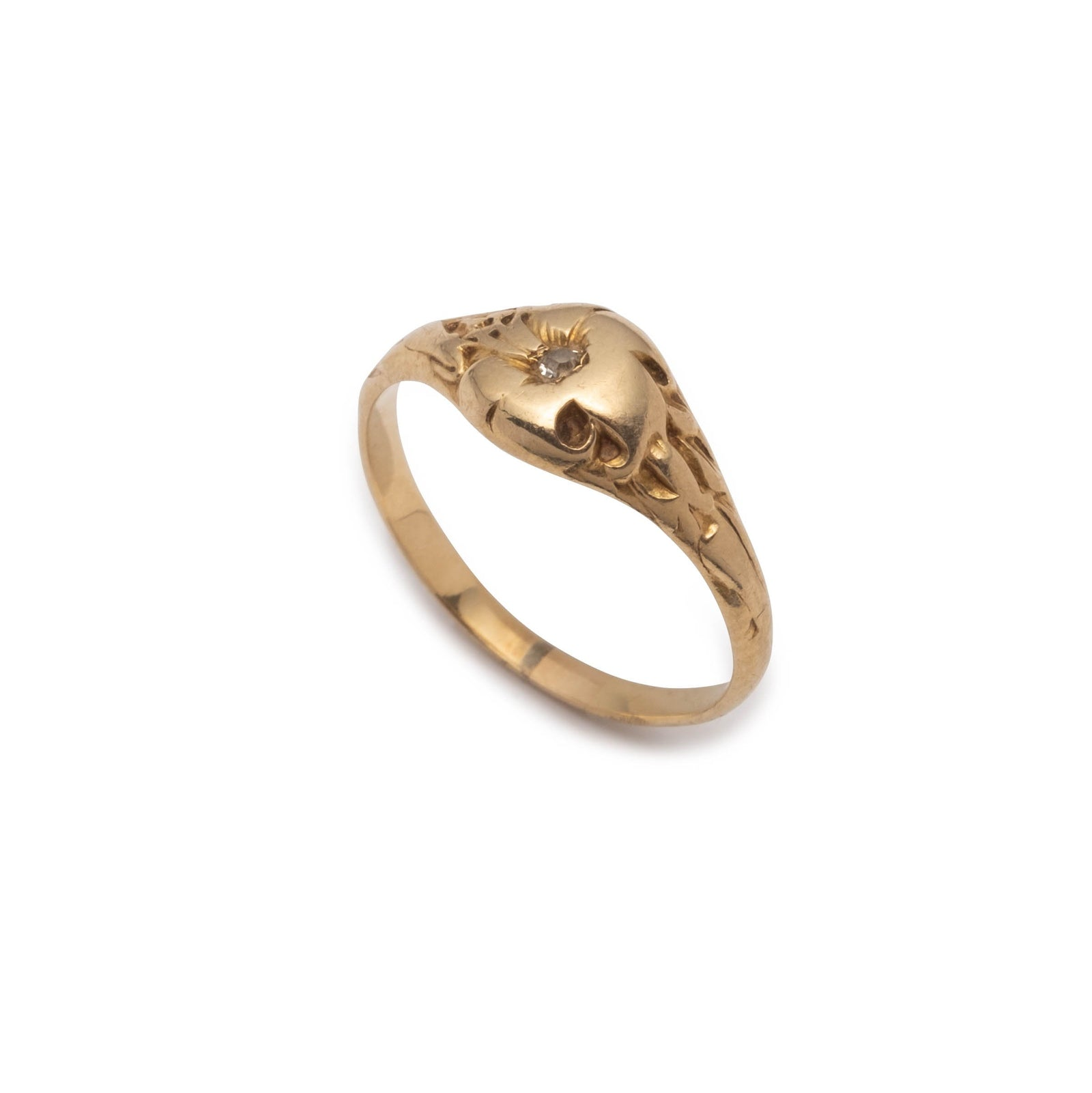 Antique Art Nouveau 14k Gold Lily Ring with Diamond