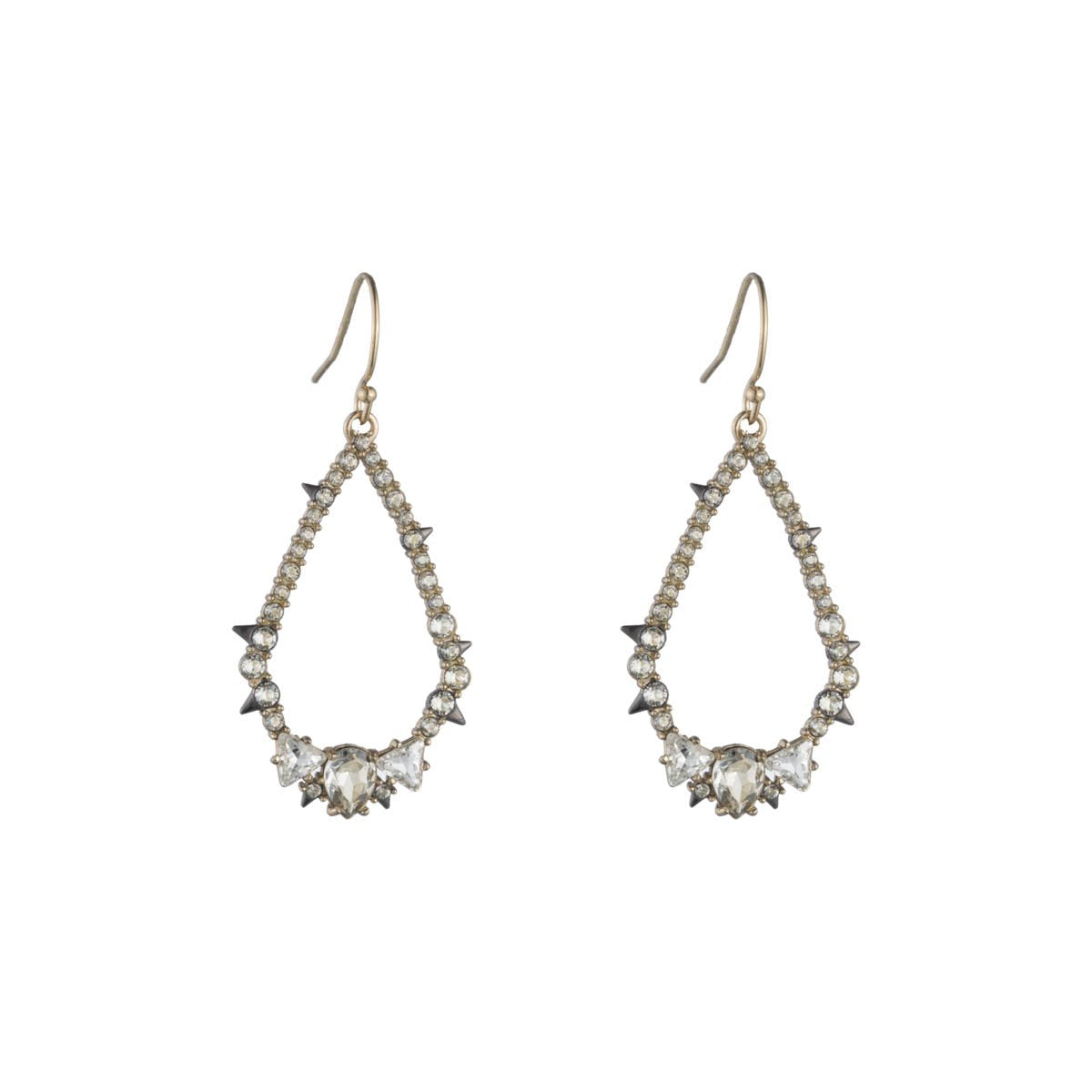 Crystal Encrusted Spiked Tear Earring