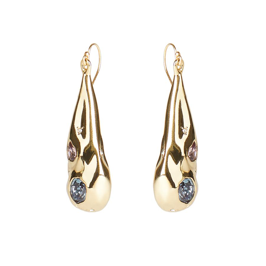 Double Stone Crumpled Teardrop Earring