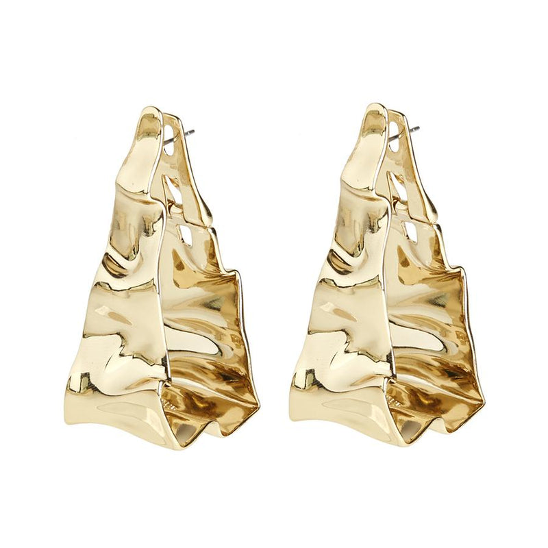 Crumpled Triangle Hoop Earring