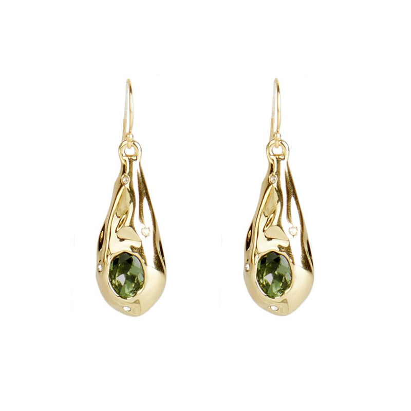 Single Stone Crumpled Teardrop Earring