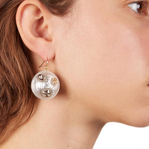 Crystal Studded Sphere Wire Earring