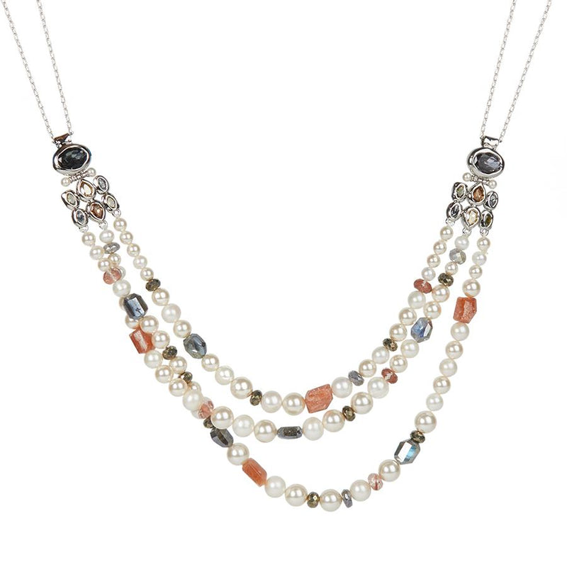 Byzantine Stone Cluster Beaded Triple Strand Necklace