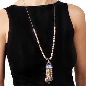Chunky Layered Pearl Waterfall Pendant