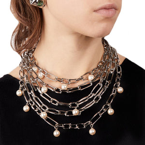 Pearl Studded Chain Link Multi Strand Necklace