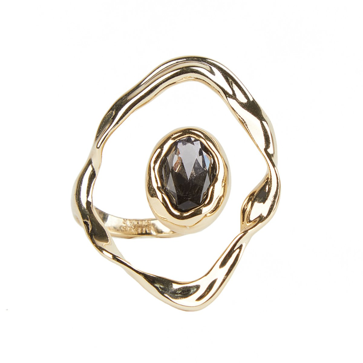 Crumpled Orbit Stone Ring