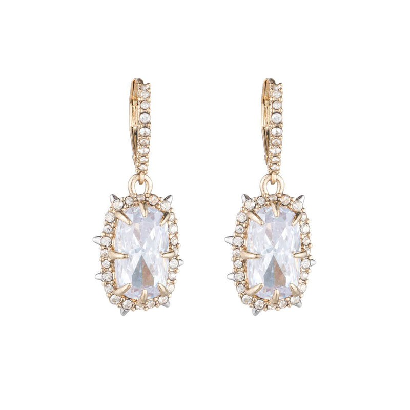 Crystal Framed Cushion Leverback Earring