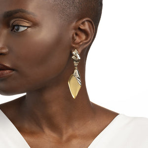 Crumpled Gold Dangling Post Earring