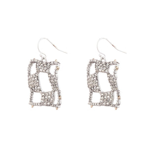 Pave Checkerboard Wire Earring