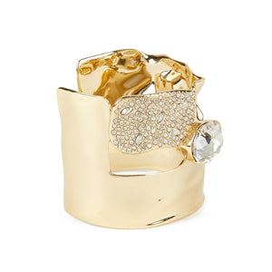 Crystal Encrusted Crumpled Solitaire Cuff Bracelet
