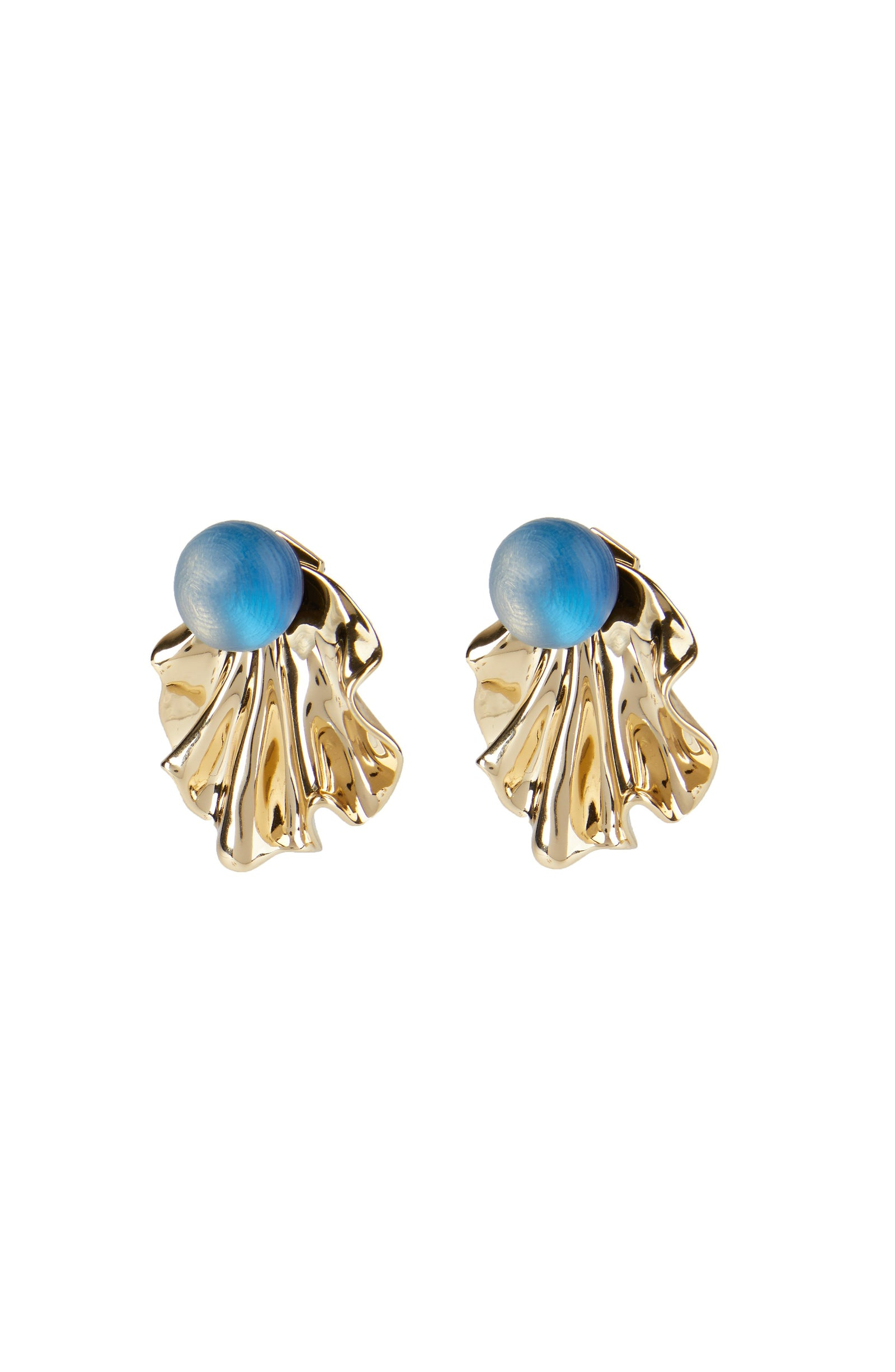 Crumpled Metal Ruffle Ear Jacket Earring