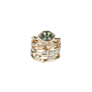 Navette Crystal Layered Ring