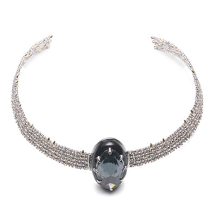 Enamel Framed Crystal Lace Choker