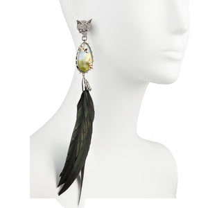 Woodland Creatures Feather Clip Earring