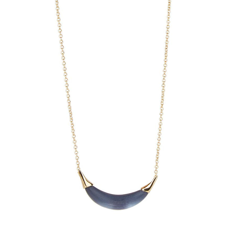 Small Capped Crescent Pendant Necklace