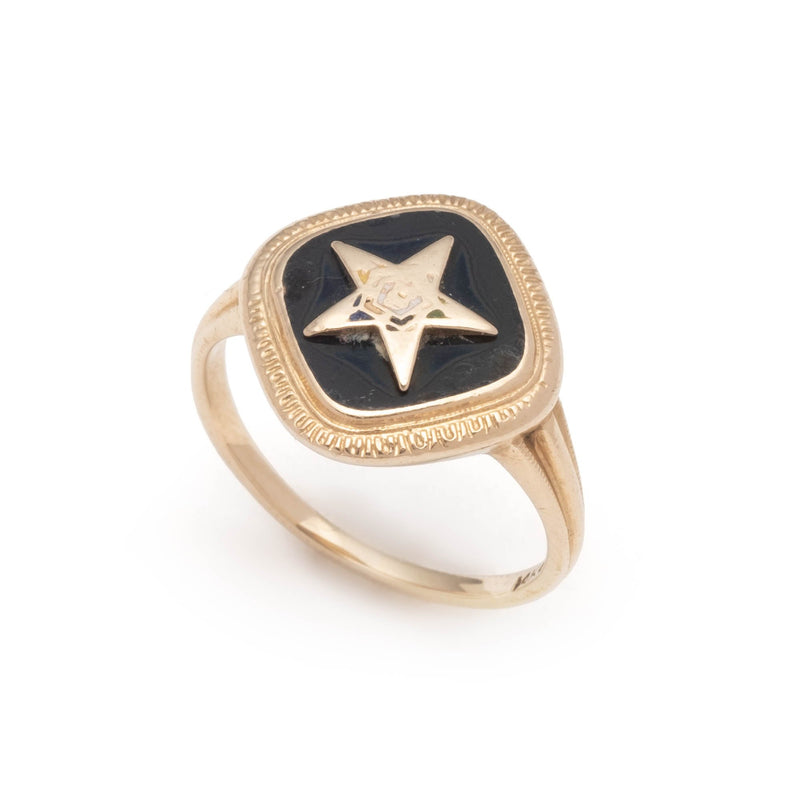 Antique Order of the Eastern Star Onyx and 14k Gold Ring