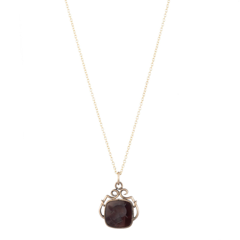 Antique Gold Filled Onyx Intaglio Necklace