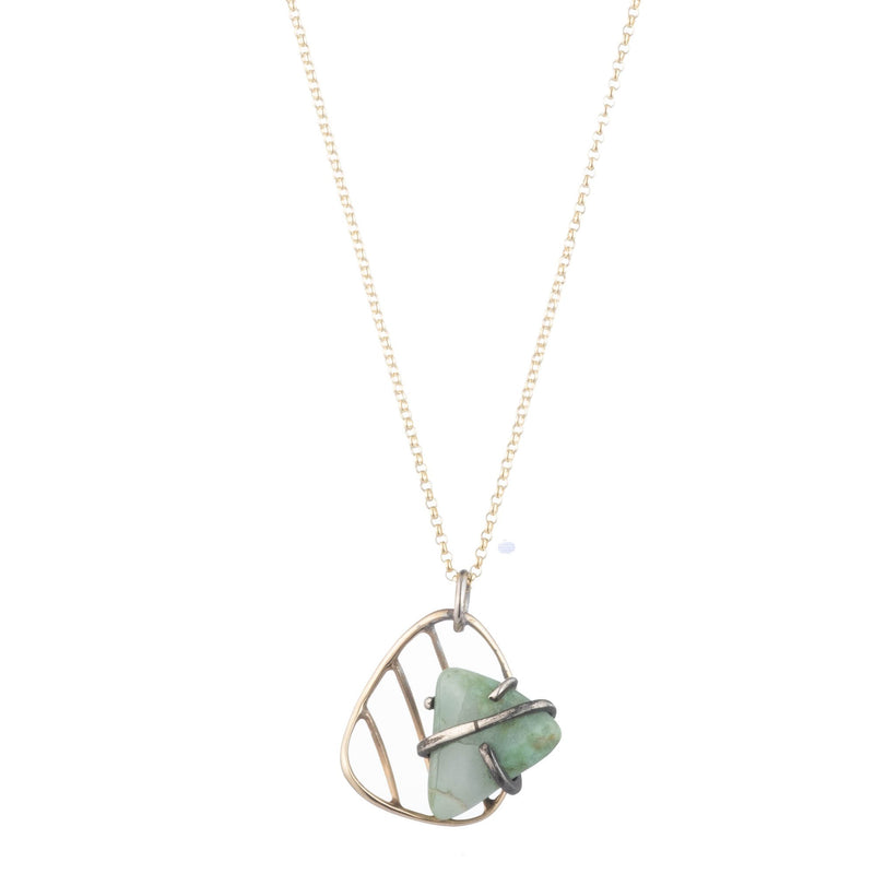 Vintage Modernist Caged Amazonite Pendant Necklace