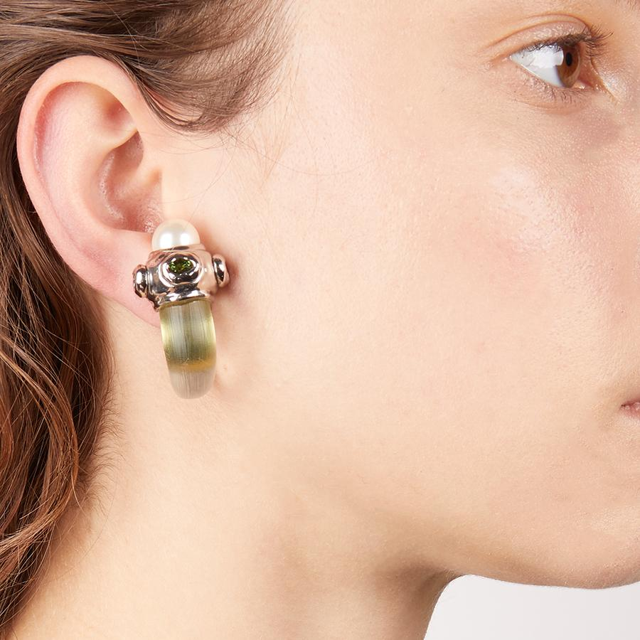 Byzantine Stone Capped Clip Earring