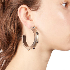 Hexagon Studded Hoop Earring