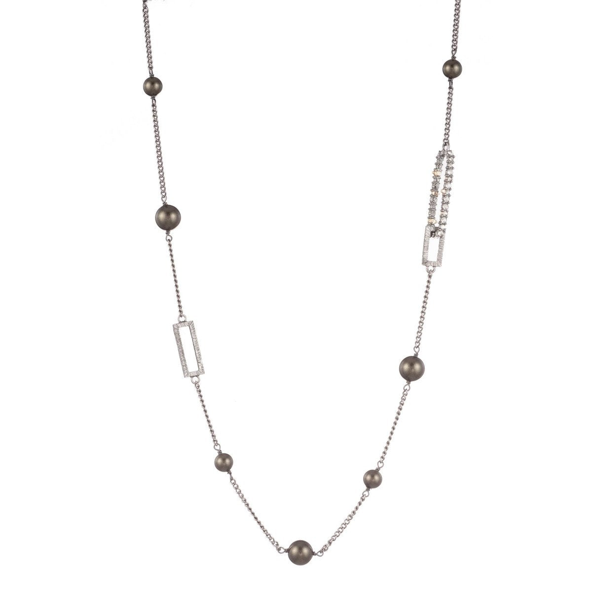 Crystal Link with Pearl Station Necklace