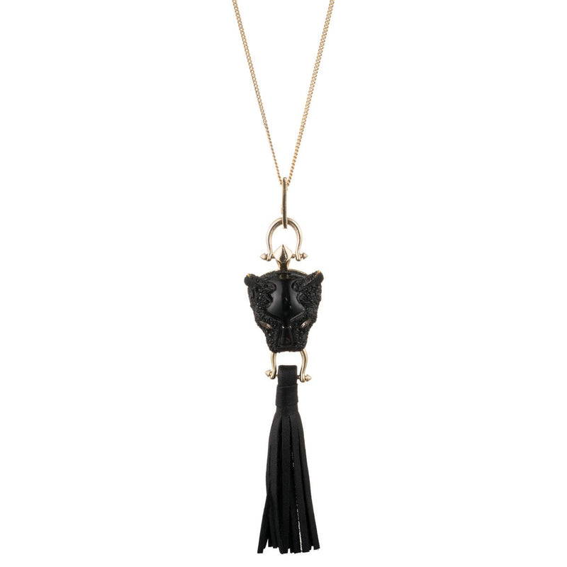 Crystal Encrusted Panther Tassel Pendant with Removable Chain