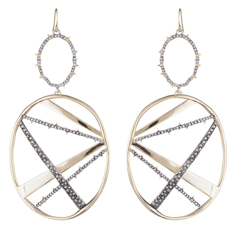 Crystal Encrusted Large Plaid Drop Earring