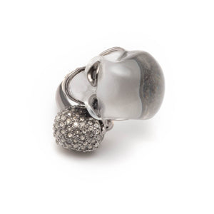 Crystal Encrusted Double Skull Ring