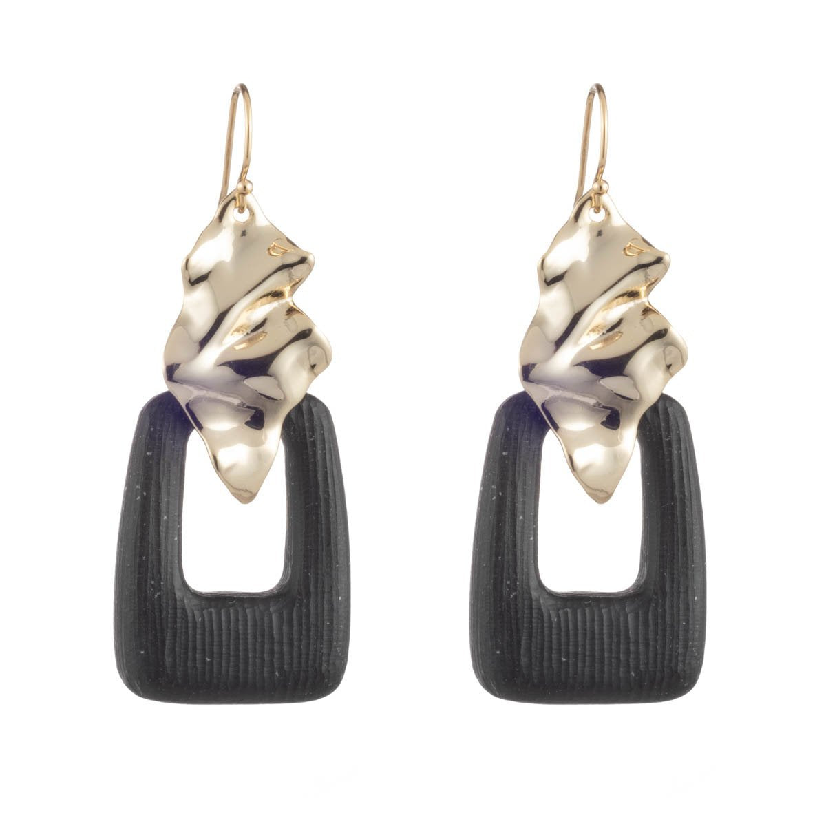 Crumpled Gold Drop Wire Earring