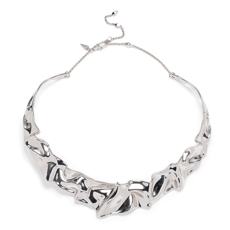 Crumpled Rhodium Collar Necklace