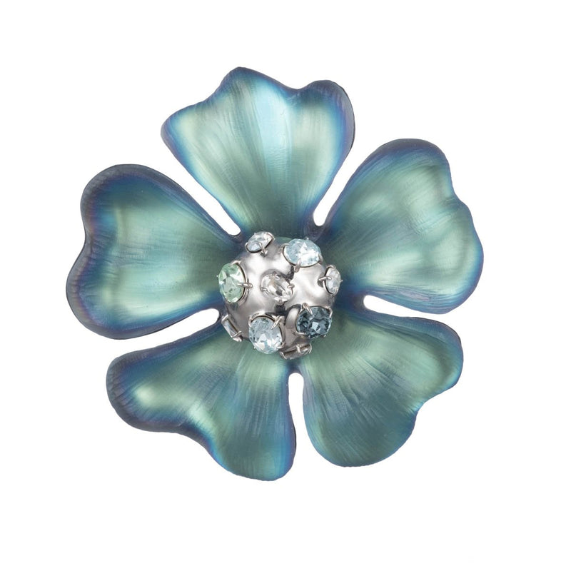 Liquid Rhodium Flower Pin