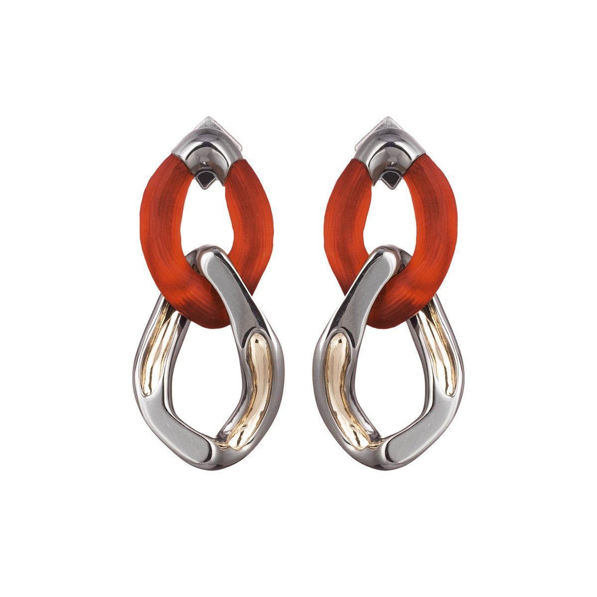 Two Tone Double Link Post Earring