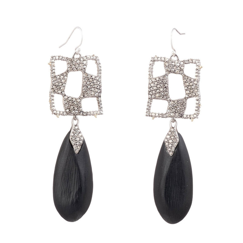 Pave Checkerboard Tear Drop Wire Earring
